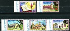 TUVALU Christmas 1976 Churches Complete MNH Set of 5 w/ Tabs Scott's 38 to 42
