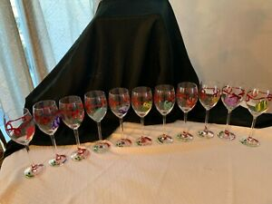 11 Hand Painted Christmas Colorful Wine Glasses Goblets Stemware Barware