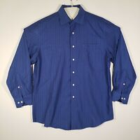 TOMMY BAHAMA Mens Button Up Shirt 16- 32/33 Blue Striped 100% Cotton Long Sleeve