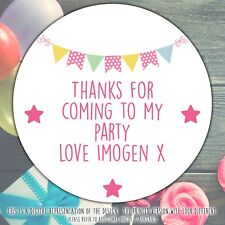 Personalised Pink Bunting Birthday Party round stickers labels party cone sheet