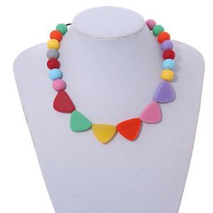 Pastel Multicoloured Resin Bead Geometric Cotton Cord Necklace - 44cm L -