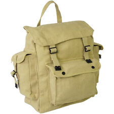 Highlander Large Pocketed Web Backpack Vintage Cotton Pack Canvas Rucksack Beige