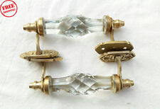 2 PC VINTAGE ANTIQUE STYLE CRYSTAL/CUT WHITE GLASS DOOR HANDLES, COLLECTIBLE