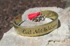 Gold Evil Not Welcome Red Tassel Cuff Bracelet Charm Hamsa Hand Eye Adjustable