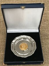 Queen Elizabeth 2002 Golden Jubilee Silver Tray With Mounted Coin - Boxed