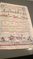 "New ListingVintage 1996 Linen Calendar Kitchen Towel Lighthouses ""You are my lamp."""