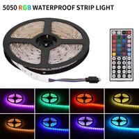 DC12V 5m RGB 5050 Waterproof LED Strip Light SMD 44 Key Remote Power Full Kit