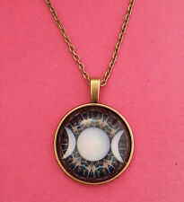 Bronze Triple Moon Goddess Wiccan Pagan Glass Dome Necklace Pendant