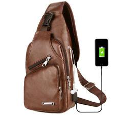 Men's Shoulder Bag Sling Chest PU Leather USB Charging Sports Crossbody Handbag