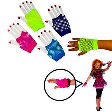 Fishnet Gloves 6 Pieces Assorted Colored Fingerless Fishnet Wrist Length Gloves