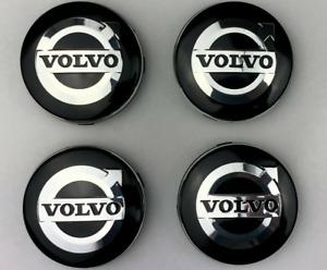 4pcs 64mm Volvo Black Silver Wheel Center Caps Hub Rim Caps Badges Emblems Decal