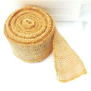 "Vintage Ribbons 2 1/2 "" Wide Burlap Fabric Craft Ribbon 10 Yards Tan Wedding"