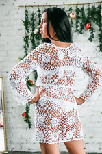 Tunique ajourée blanche tricotée à la main au crochet T 40/42 coton robe dress