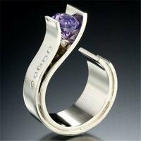 Trendy 925 Silver Amethyst Ring Women Men Wedding Jewelry Party Gift Size 6-10