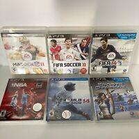 Lot of 6 Playstation 3 PS3 Sports Games - Madden - FIFA - NBA - MLB - Champions