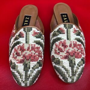 Zalo Needlepoint Stitch Floral Abstract Leather Trim Slip On Mules Shoes 8M NEW