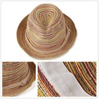 Beach Summer Sun Boho Lady Panama Colorful Women Striped Foldable Straw Hat