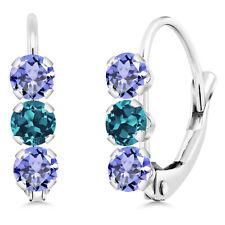 0.86 Ct Round Blue Tanzanite London Blue Topaz 14K White Gold Earrings