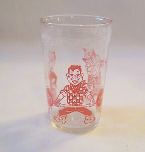 c1953 WELCH'S Jelly Glass 8oz - HOWDY DOODY  Come Along Kids... Makes You Strong