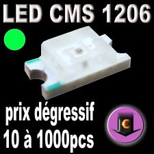 102# LED CMS 1206 verte 530nm  500mcd de 10 à 1000pcs