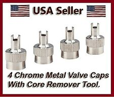 4 Chrome Metal Slotted Head Valve Stem Caps With Core Remover Tool Motorcyle/Car