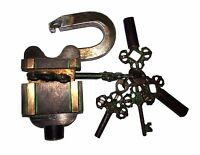 A Fantastic VINTAGE LOOK Brass made TRICKY PUZZLE Padlock with 2 X 3 keys sets