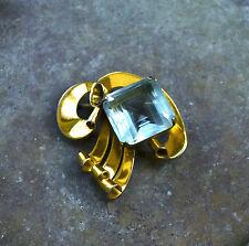 Rare CORO Craft STERLING CRAFT Vermeil Moderne Brooch Pin Art Deco