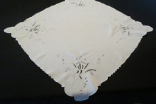 Vintage Cutwork, Embroidered, Linen Tablecloth, Supper Cloth