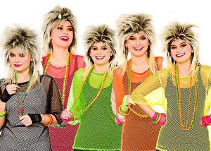 80s Neon Vest Mesh Punk Mod Ladies Fancy Dress Bright Top Accessory One/Plus Siz