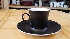 BIDASOA Espana Noche Block Black Vintage 1960's Tea Cup and Saucer (1074)