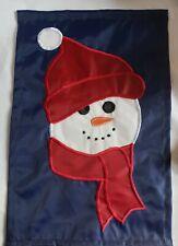 New listing Retired Tender Heart Treasures Christmas Winter Snowman on Blue Mini Garden Flag