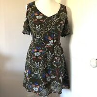Select Brown Multi Floral Short Dress Tunic Size 10 Drop Cold Shoulder Sleeves