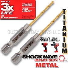 "2 Milwaukee Shockwave 5/64"" TITANIUM 1/4"" Hex Shank Impact Drill Bit 48-89-4602"