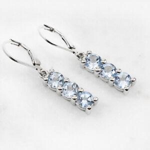 Genuine 3-Stone Blue Topaz 14k White Gold Finished Drop Earrings