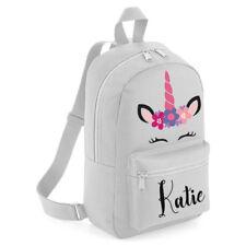 Personalised Kids Backpack Any Name Pink Unicorn Girls Back To School Bag #MBU3