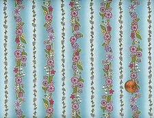 5Yds 'Spring View' Flower Columns On Light Aqua Cotton Fabric - In The Beginning