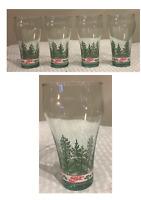 VINTAGE Coca-Cola Coke Christmas Holiday 16 oz. Drinking Glass Tumblers Set of 4