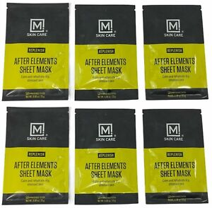 M Skin Care Men's Facial Masks After Elements Replenish Calm/Rehydrate-Lot of 6