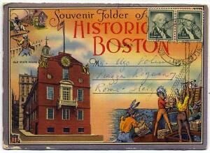 Historic Boston Color Folder souvenir book 20 photos Postal franking 1959 S372