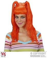 Ladies Long Neon Orange Wig With Bunches Nu Rave Punk Fancy Dress