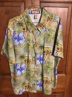 Jamaica Bay Ladies Shirt Size Lg Rayon Hawaiian Blue Hibiscus Short Sleeve