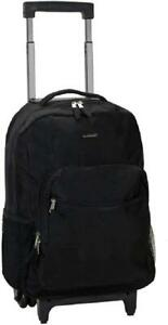 Luggage Rolling Backpack With Double Wheels Shoulder Straps Pocket Organizer 17l