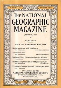 1928 National Geographic January - Dalmatia and Adriatic Coast; Lindbergh flies