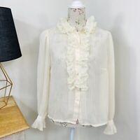 Vintage Elvie Hill Melbourne Shirt Feminine Romantic Poet Sleeve Lace Size 16