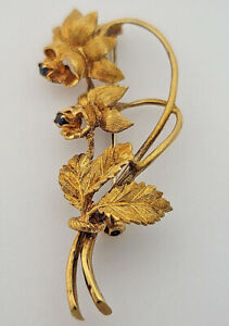 Blue Sapphire Lily Floral Brooch, 18kt Yellow Gold, $4400