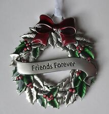 d Friends Forever CHRISTMAS HOLLY WREATH ORNAMENT ganz car charm holiday