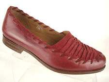 Earthies Fontana Red Slip On Loafers Sewn Moc Toe Leather/Suede Womens Sz 5.5B