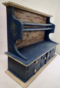 Large Handmade Wood Country Farmhouse Wall Rack w/ Drawers Distressed Blue Paint