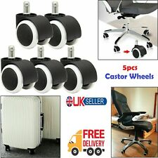 5x Soft Rubber Non Marking Castor Wheels 50mm 11mm Computer Office Chair Caster