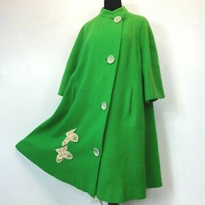 Vintage Swing Jacket size L Miss Topper Green Butterfly Appliques A-Line Wool P0